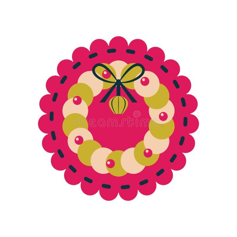Juguete de la decoración del fieltro del vintage del ornamento de la guirnalda de la Navidad libre illustration