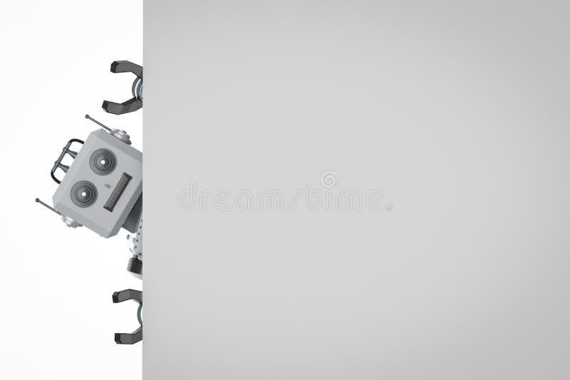 Juguete de la lata del robot con el papel en blanco blanco