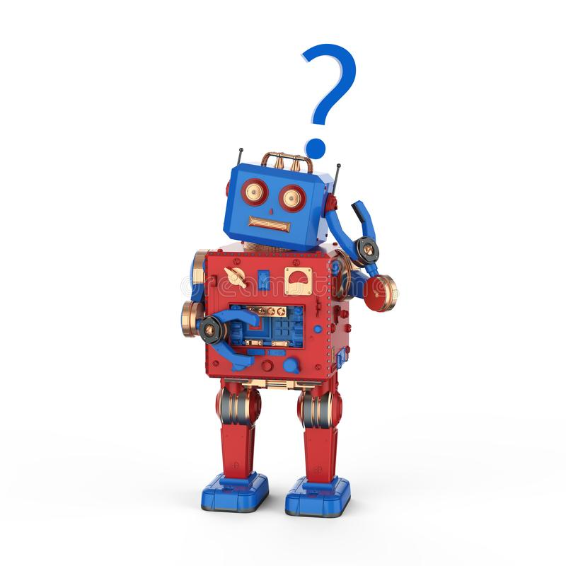 Juguete de la lata del robot con el signo de interrogación ilustración del vector
