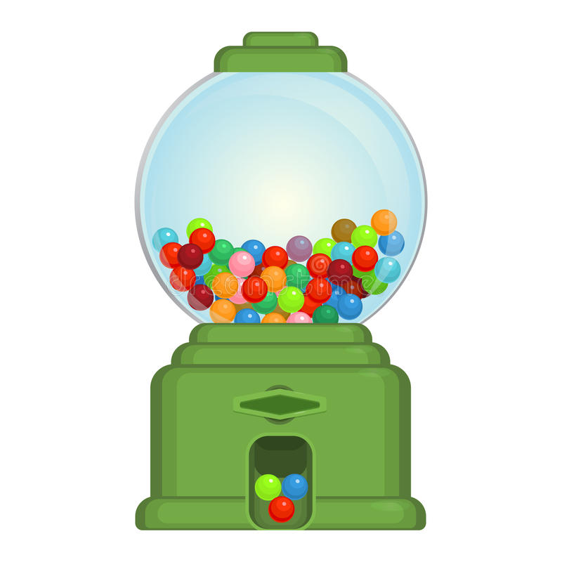Juguete de la máquina de Gumball o dispositivo comercial, que dispensa alrededor de gumballs ilustración del vector