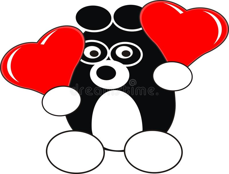 Juguete de la panda del bebé de la historieta con los corazones rojos foto de archivo