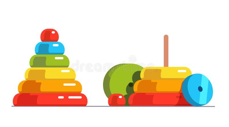 Juguete de madera brillante montado, desmontado de la pirámide ilustración del vector