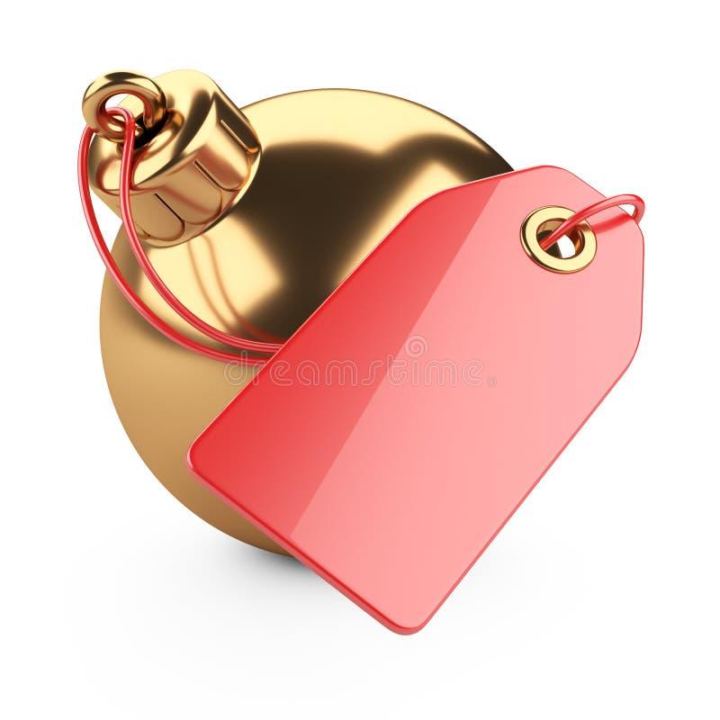 Juguete de oro del árbol de navidad con una etiqueta en blanco roja El concepto de h stock de ilustración