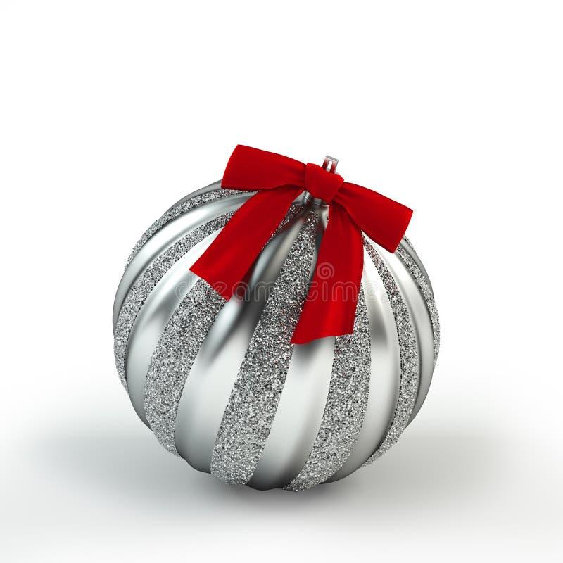 Juguete de plata del árbol de navidad con la cinta Bola de plata Decoración de la Navidad y del Año Nuevo imagen de archivo