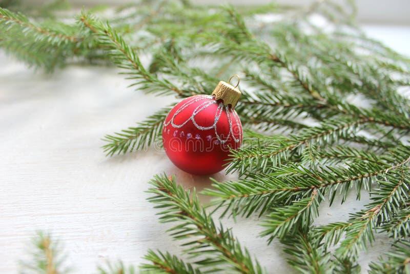 Juguete del árbol de navidad, bola roja encendido, ramas de árbol en el fondo de madera del fondo blanco, espacio de la copia foto de archivo libre de regalías