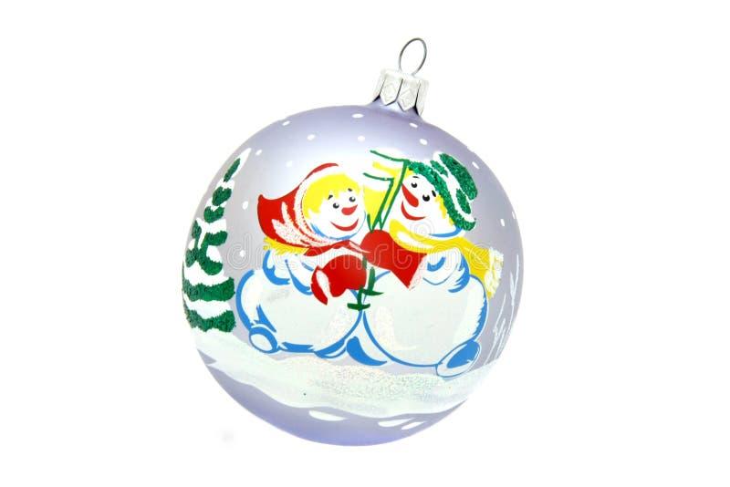 Juguete del árbol de navidad de la bola del muñeco de nieve fotografía de archivo libre de regalías