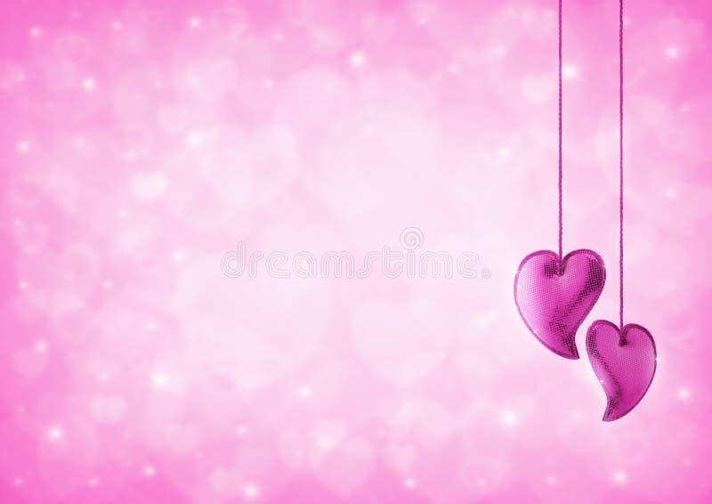 Juguete del amor del corazón en el bokeh del corazón del rosa de la falta de definición para la tarjeta del día de San Valentín fotografía de archivo