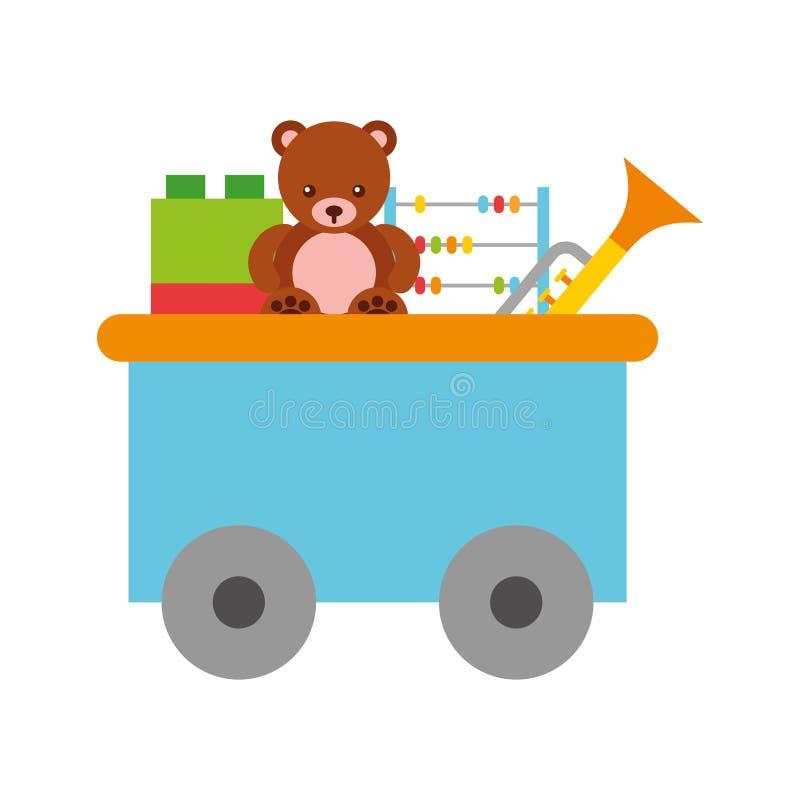 Juguete del carro del tren con los juguetes stock de ilustración