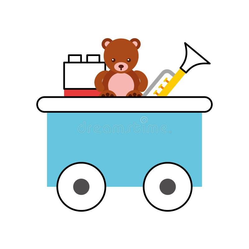 Juguete del carro del tren con los juguetes ilustración del vector