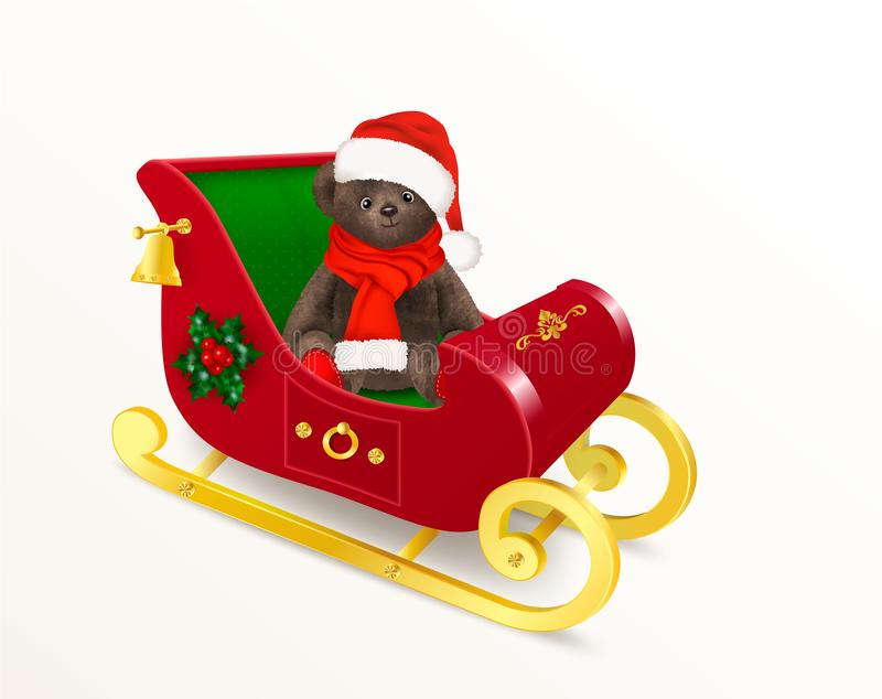 Juguete del oso de peluche que se sienta en el trineo de Santa Claus Oso de peluche lindo, llevando un sombrero mullido rojo y un libre illustration