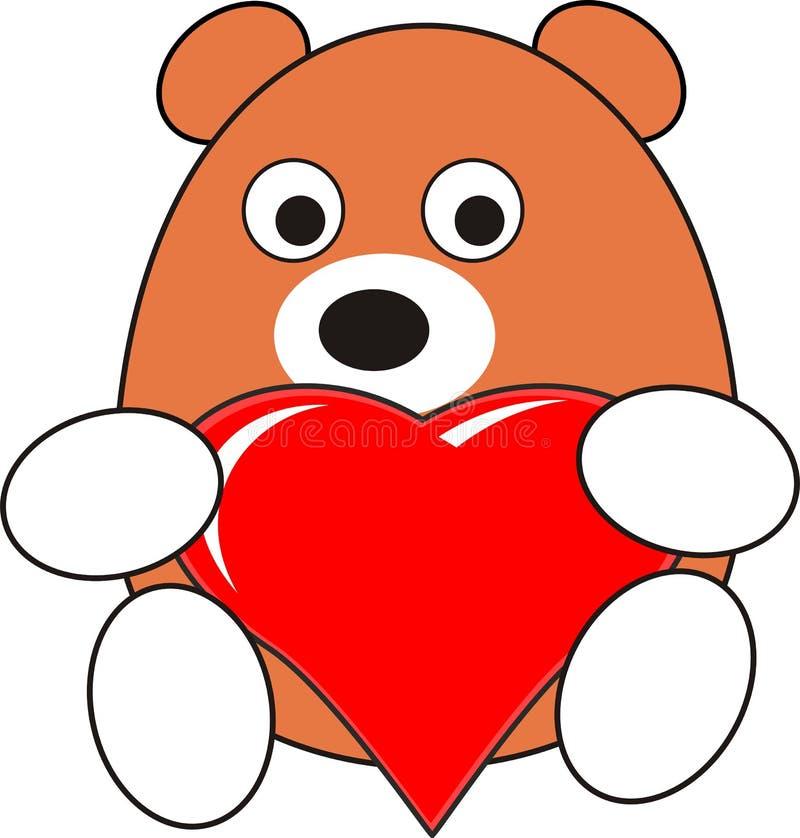 Juguete del oso del bebé de la historieta con el corazón rojo ilustración del vector