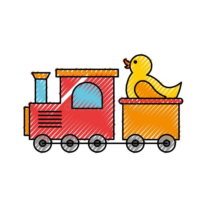Juguete del tren con el pato stock de ilustración