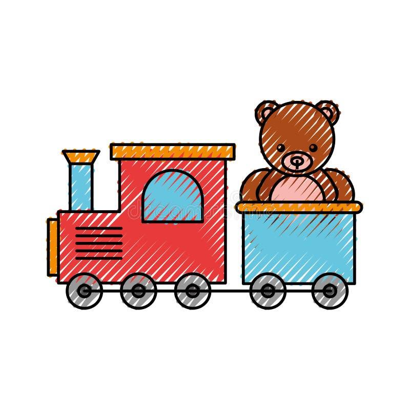 Juguete del tren con el peluche del oso libre illustration