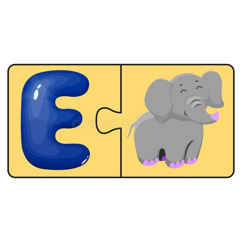 Juguete educativo de los niños s Rompecabezas, elefante lindo y la letra E de la historieta Ilustración del vector Animal de la d stock de ilustración
