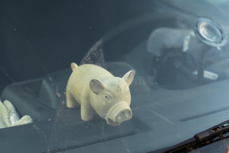 Juguete gordo lindo del cerdo detrás de la ventana del parabrisas de un coche imágenes de archivo libres de regalías