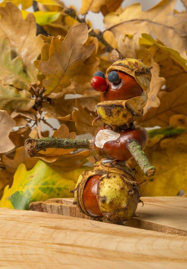 Juguete hecho de las castañas y de los materiales naturales fotografía de archivo libre de regalías