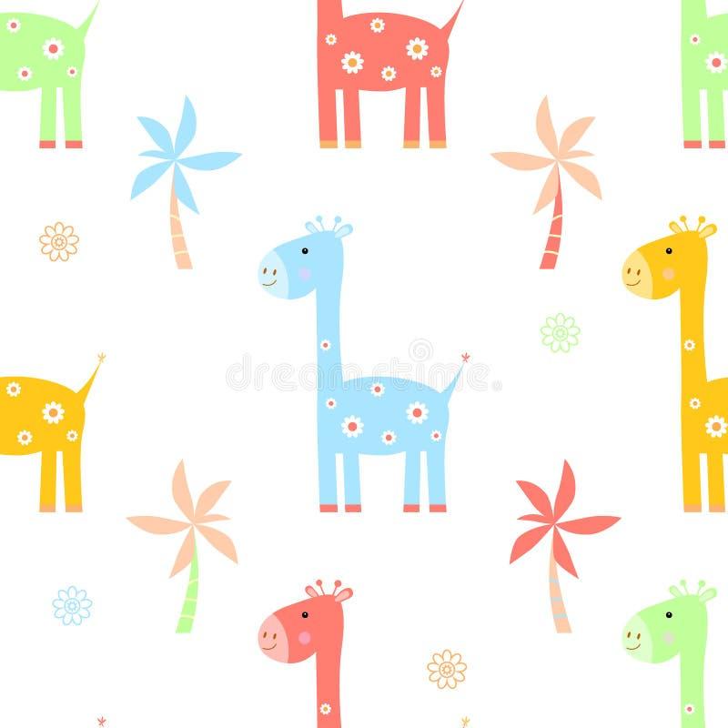 Juguete inconsútil del modelo de la historieta de la jirafa, impresión stock de ilustración