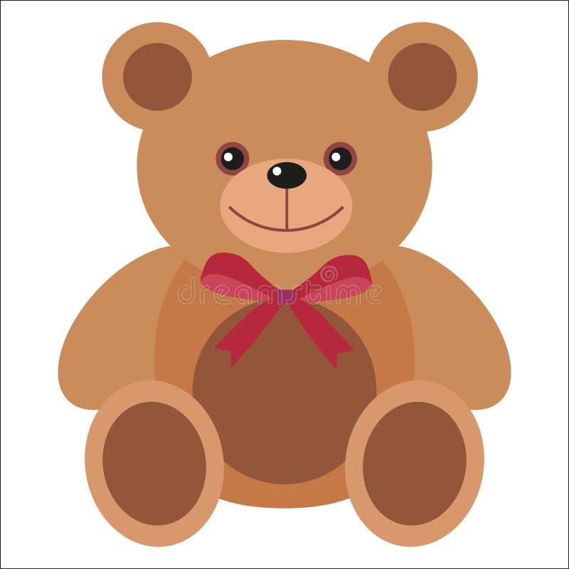 Juguete lindo del oso de peluche Juguete animal marrón divertido agradable para los niños del niño de la guardería Niños educació stock de ilustración