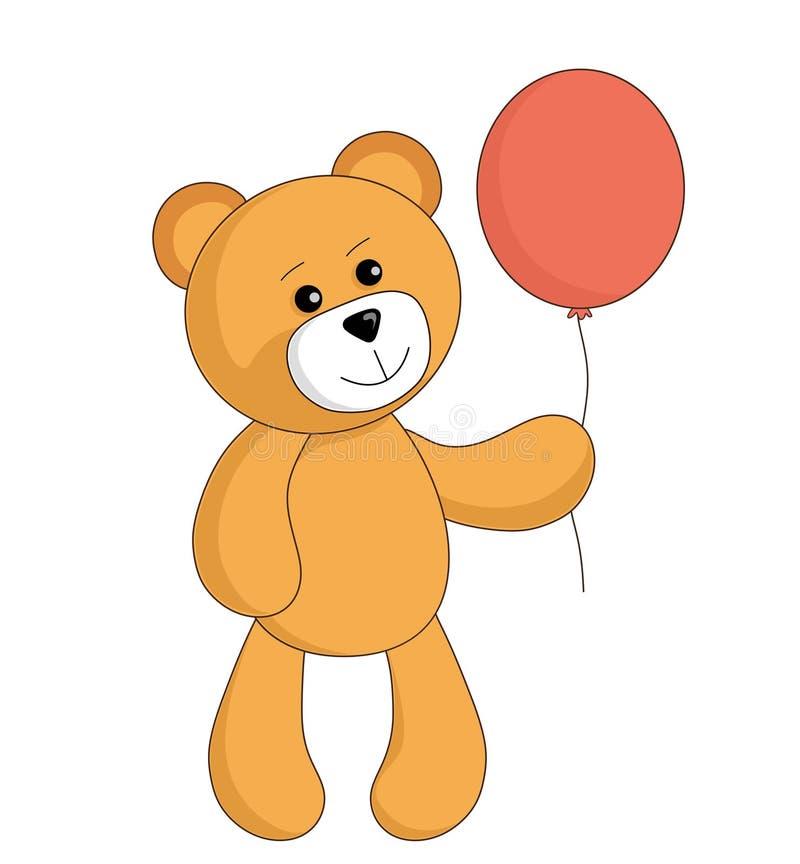 Juguete lindo del oso de peluche de la historieta con el globo rojo Imagen del vector para los ni?os ilustración del vector