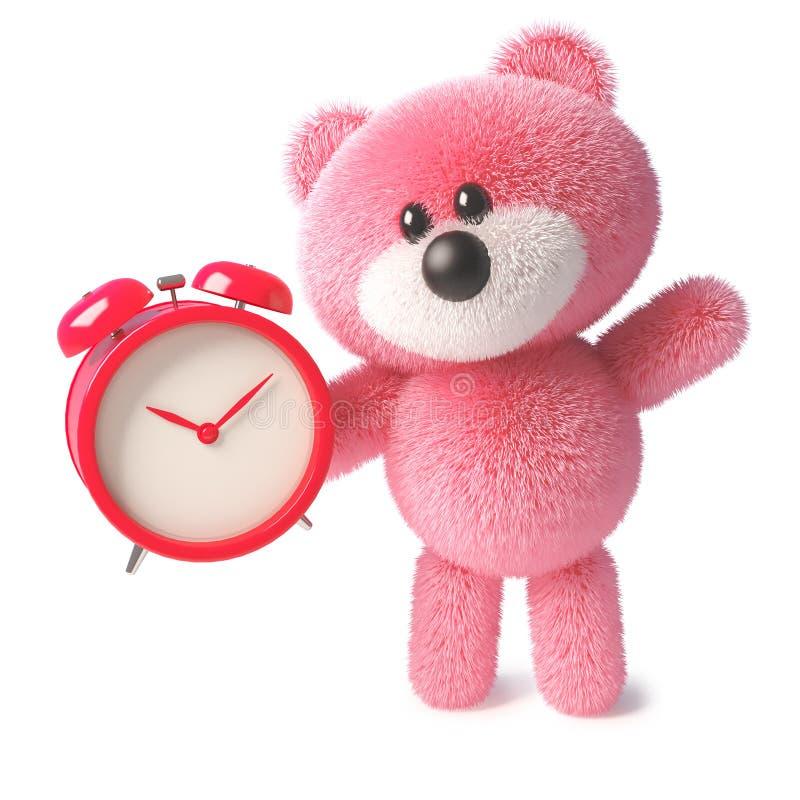 Juguete mullido rosado mimoso del oso de peluche que fija la alarma para la mañana, ejemplo 3d libre illustration