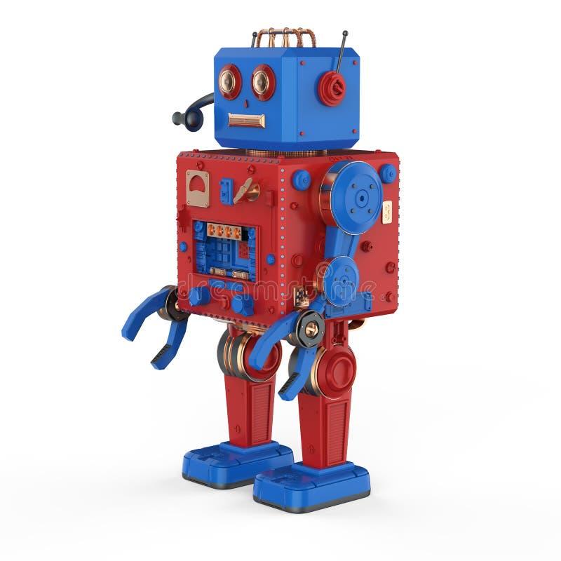 Juguete rojo de la lata del robot con las auriculares