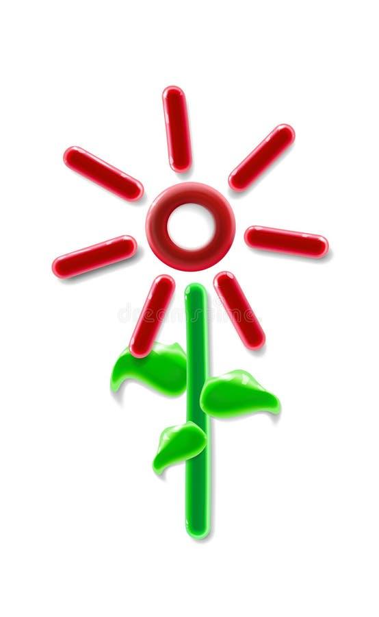 Juguete rojo plástico tridimensional realista de la flor Elemento floral ornamental colorido brillante moderno en fondo ligero ilustración del vector