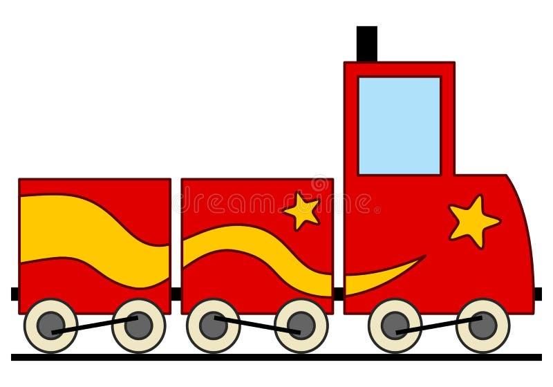 Juguete rojo y amarillo del tren de la historieta ilustración del vector