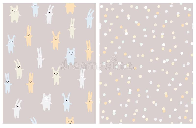 Juguete y Dots Vector Patterns brillantes lindos Pale Brown Background ligero libre illustration
