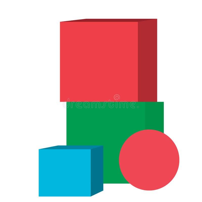 Juguetes aislados del cubo libre illustration