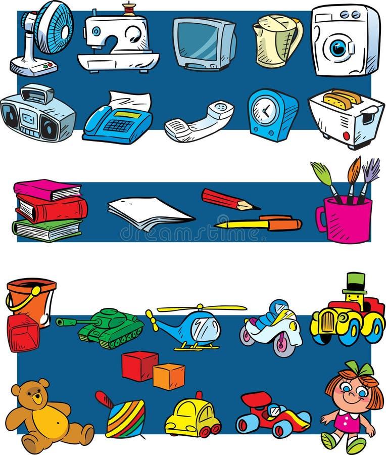 Juguetes, aparatos electrodomésticos, papel ilustración del vector