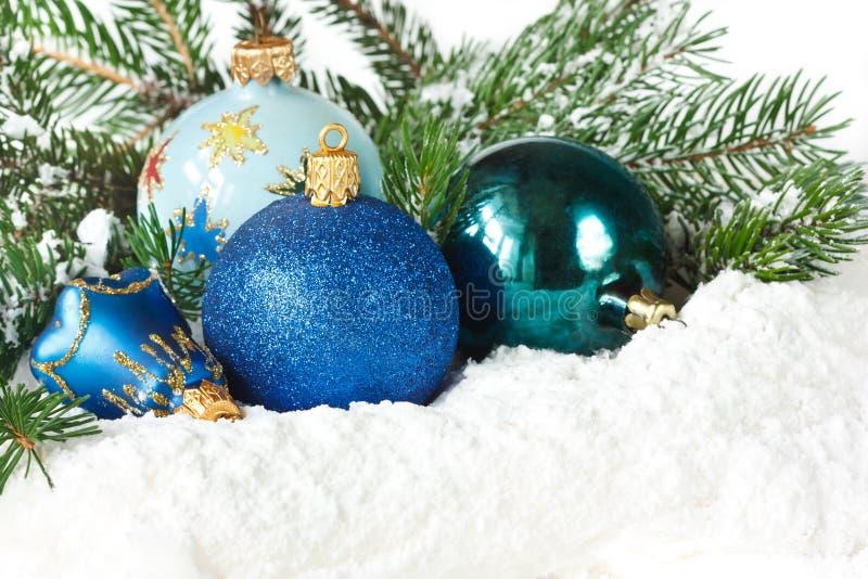 Juguetes azules de la Navidad. imágenes de archivo libres de regalías