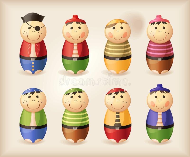 Juguetes - bolos del pirata stock de ilustración