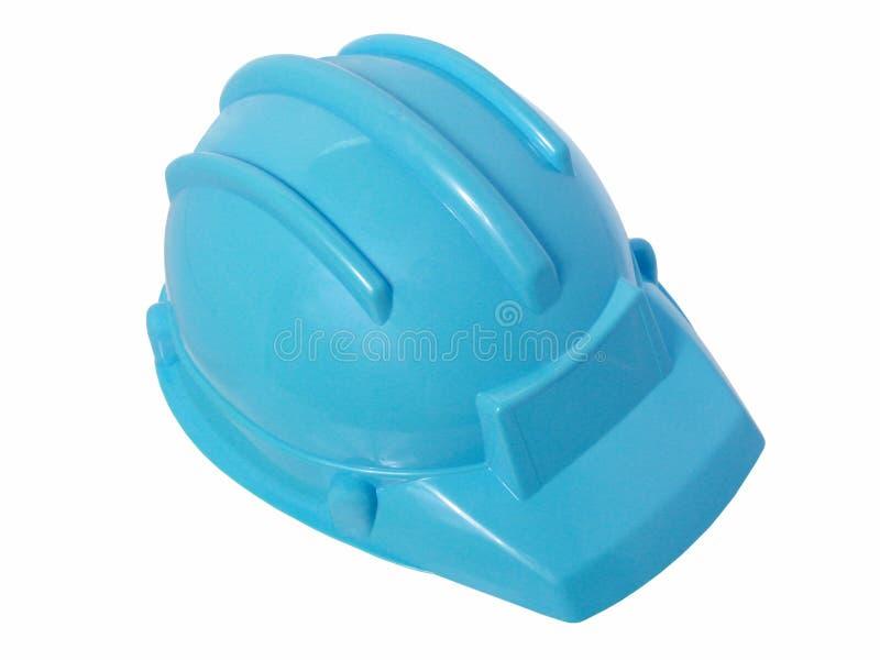 Juguetes: Casco plástico azul brillante de la construcción imagen de archivo libre de regalías