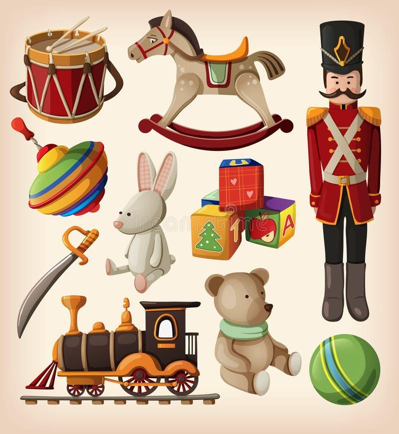 Juguetes de la Navidad de la vendimia ilustración del vector