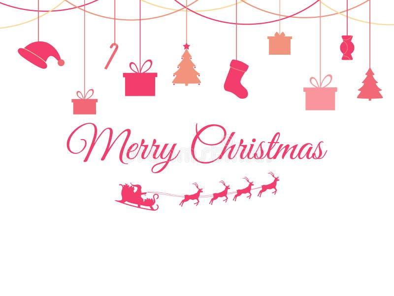 Juguetes de la Navidad de la ejecución en un fondo blanco Santa Claus en un trineo con los ciervos Cajas del abeto y de regalo Ve libre illustration