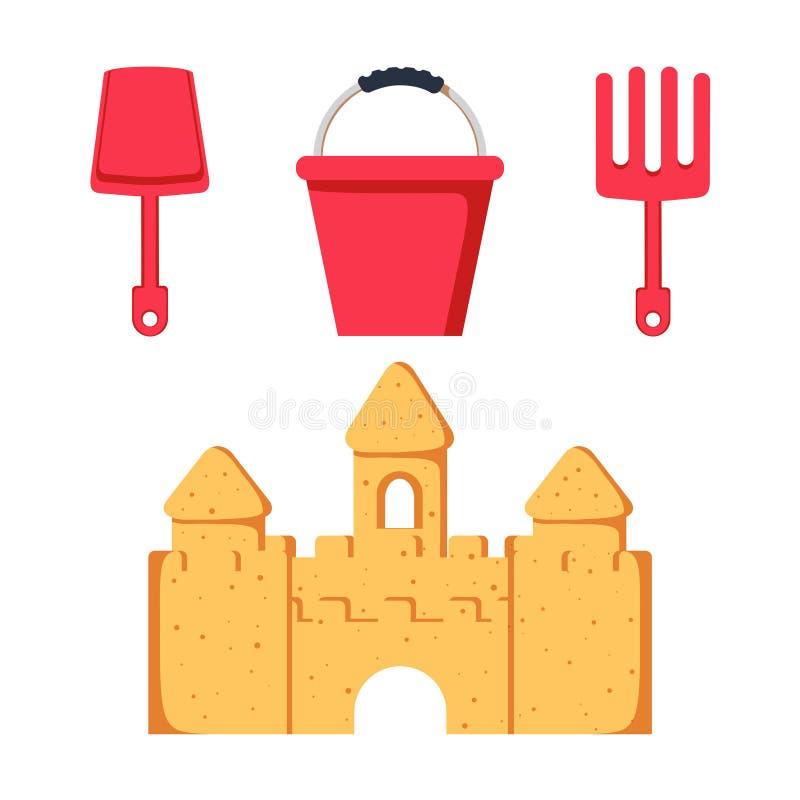 Juguetes de la playa y castillo de la arena Iconos coloridos del cubo, de la pala y del rastrillo del niño Juegos y actividades d libre illustration