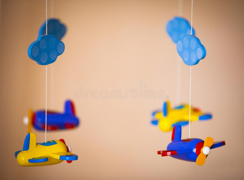 Juguetes de los aeroplanos hechos de la madera imagen de archivo libre de regalías