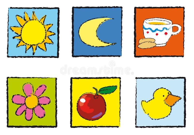 Juguetes de los iconos ilustración del vector