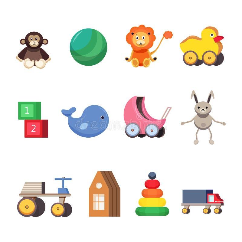 Juguetes de los niños fijados Ejemplos planos coloridos stock de ilustración