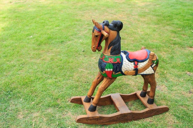 Juguetes de madera del caballo fotografía de archivo libre de regalías