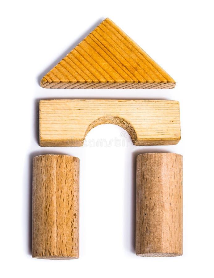 Juguetes de madera educativos fotos de archivo