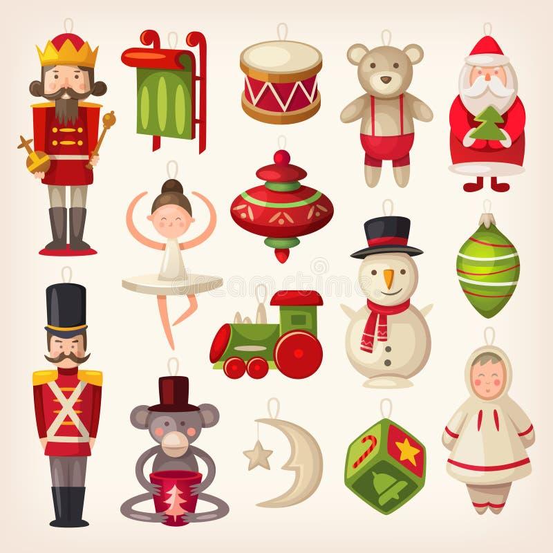 Juguetes del árbol de navidad stock de ilustración