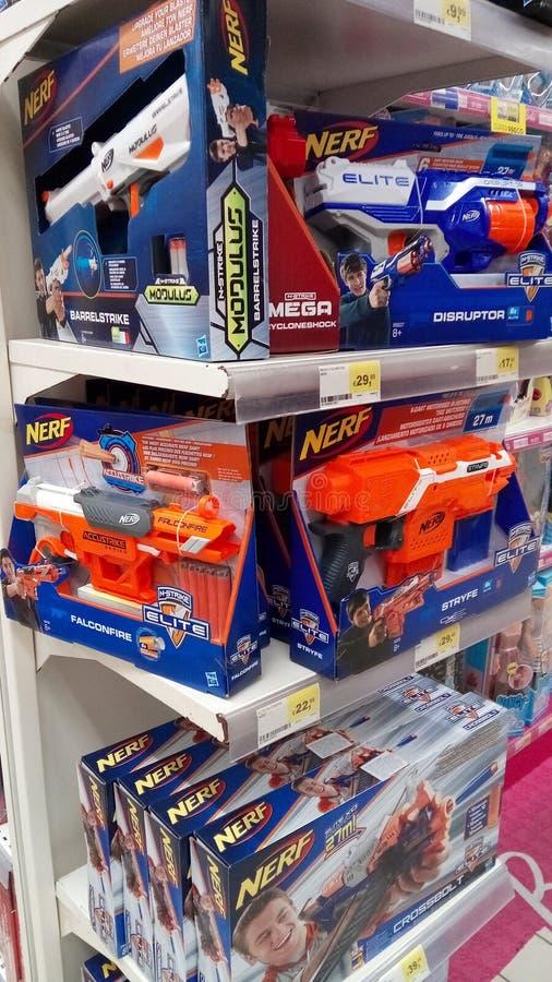 Juguetes del arma de Nerf fotografía de archivo libre de regalías