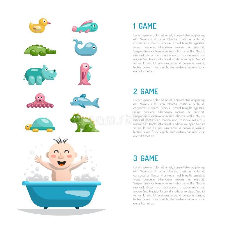 Juguetes del baño del bebé ilustración del vector