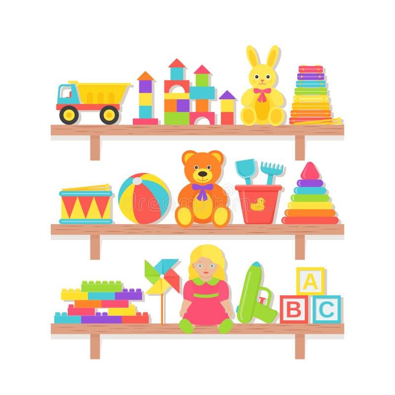 Juguetes del bebé en estante Ejemplo del vector en dise?o plano Sistema de la historieta ilustración del vector