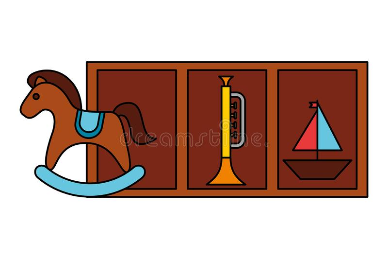 Juguetes del niño de la trompeta del barco del caballo mecedora ilustración del vector