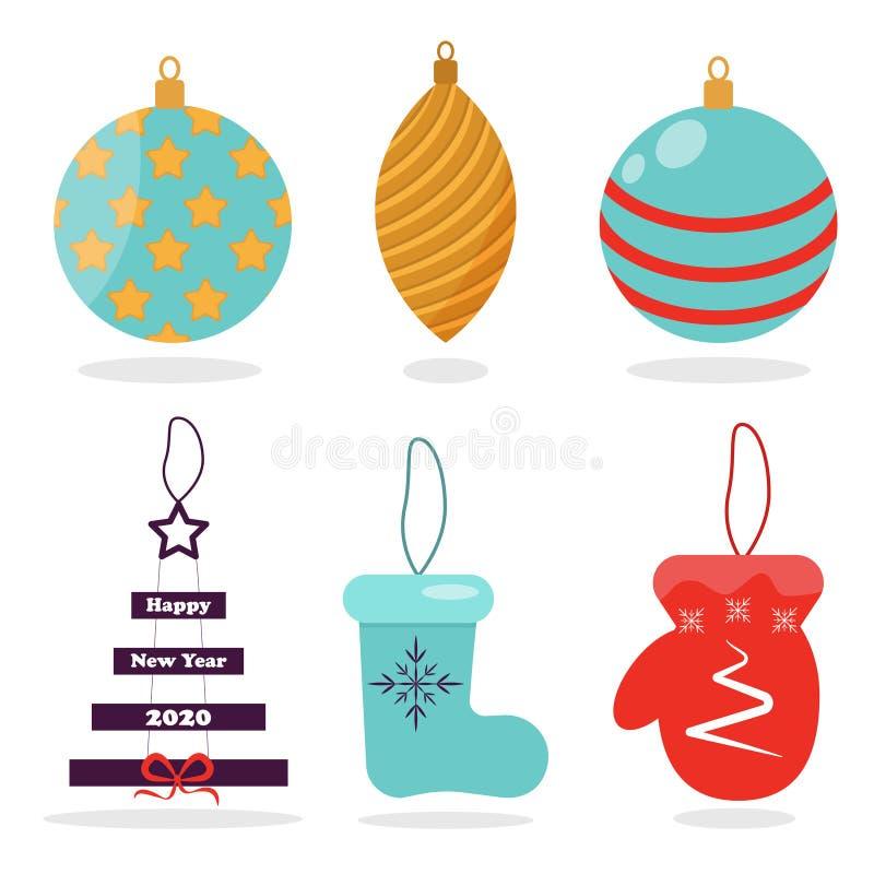 Juguetes del ?rbol de navidad Bolas de la decoración del vector de los juguetes de la Navidad, estrellas, manopla, botas del fiel ilustración del vector