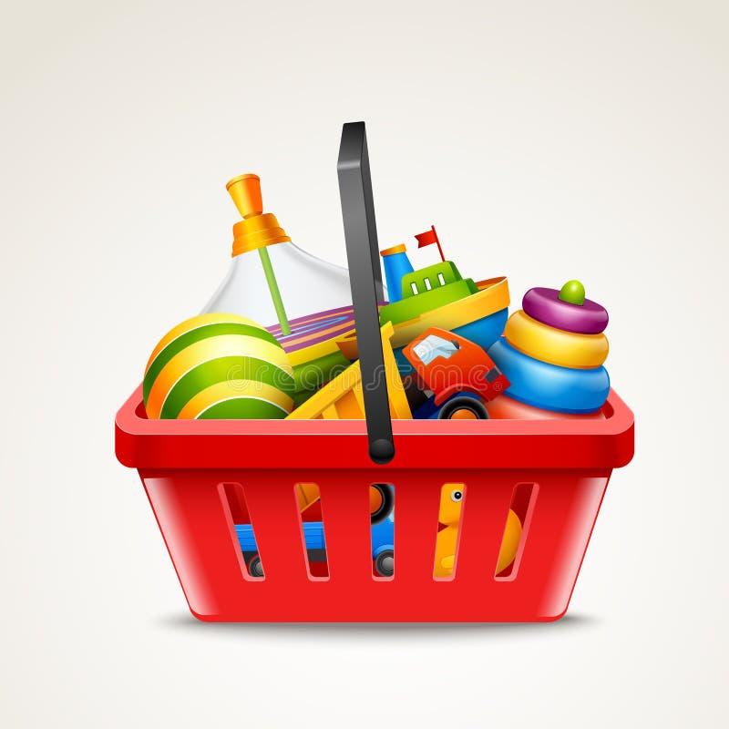 Juguetes en cesta de compras stock de ilustración
