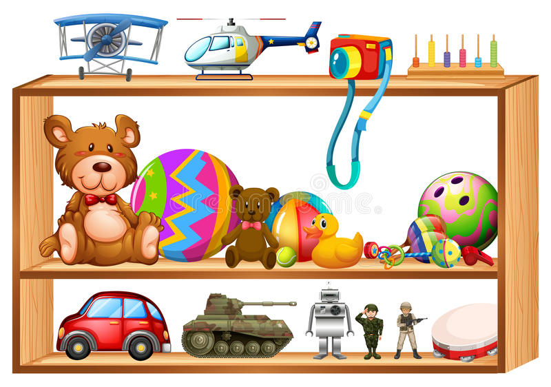 Juguetes en estantes de madera ilustraci n del vector for Estantes para juguetes
