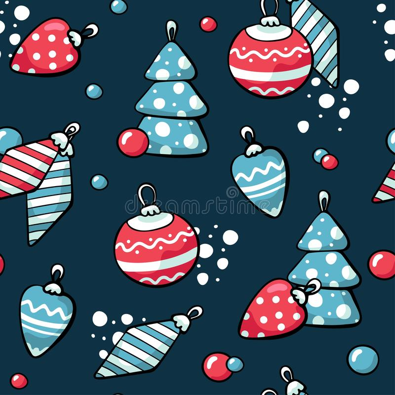 Juguetes lindos del árbol de navidad de los garabatos Ilustraci?n drenada mano del vector La Navidad juega el modelo Diseño para  libre illustration